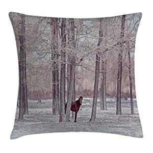 Equestrian Decor Throw Pillow Cushion Cover by Ambesonne, Lonely Horse in Forest Stands behind Leafless Trees Winter Snowy Panorama, Decorative Square Accent Pillow Case, 16 X 16 Inches, Brown Beige