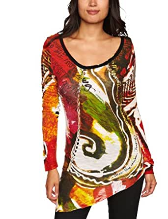 Desigual RAINBOW GARDEN 女式 长袖T恤 暗红色 M 26T24533082M