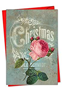 C5156BXSG-B12 Box Set of 12 'Christmas Roses Batya - B' Christmas Card Featuring Images of Eye-Popping Flowers Overlaid on CHristmas FLiers; With Envelopes