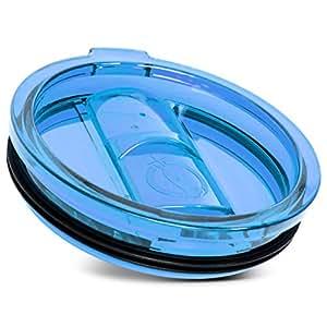 通用不锈钢 tumbler lids 泄漏和 SPLASH 耐 easy-sip Slide 封口吸管环保旅行套适用于 Yeti rtic rambler , OZARK TRAIL CUP Bold Blue 30-Ounce