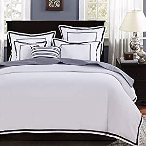 Mellanni 被套套装 - 双磨毛超细纤维 1800 床上用品系列额外枕套 - 防起皱、褪色、污渍 - 低*性 Hotel Gray Full/Queen 818162026741