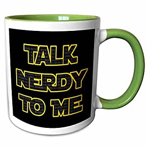 3dRose EvaDane - 趣味语录 - Talk nerdy to me。 黑色和黄色。 - 马克杯 */白色 11-oz Two-Tone Green Mug mug_200843_7