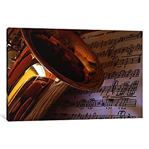 iCanvasART 43-1PC6-18x12 Gold Saxophone Canvas Print by Unknown Artist, 1.5 by 18 by 12-Inch