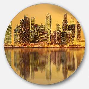 Designart Singapore Marina Bay Skyscrapers Cityscape 圆片金属艺术品 23X23 - Disc of 23 inch MT10061-C23