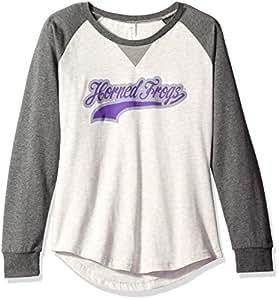 Ouray Sportswear NCAA TCU 角蛙女式 Chroma Script 圆领上衣,燕麦石楠色/石墨猎犬,L 码