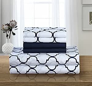 Chic Home Illusion 6 件套超软现代几何图案印花深口袋设计 - 包括床单和床笠和附赠枕套 *蓝 King SS4533-AN