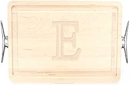 """CHUBBCO 220-LCLT-E Thick Carving Board with Large Boat Cleat Handle in Cast Aluminum, 15-Inch by 24-Inch by 1.25-Inch, Monogrammed """"E"""", Maple"""