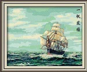 佳彩天颜 diy手绘数字油画 一帆风一顺数字油画 客厅装饰画 油画 一帆风顺一 50*65已钉好内框