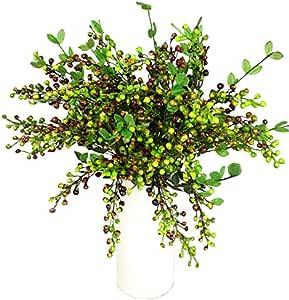 Htmeing 人造圣诞浆果树茎,54.86 厘米,4 件套 绿色 JG4ZG