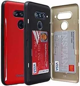 LG V40 钱包手机壳,CheapSunday CSD07 信用卡门手机壳,隐藏身份证插槽信用卡套硬壳 [镜面] 适用于 LG V40 红色