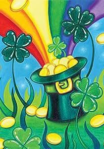 """托兰家庭花园帽""""O 金色 31.75 x 45.72 cm 装饰三叶草彩虹锅金色圣帕特里克节三叶草花园旗帜"""