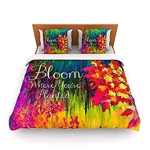 Kess InHouse Ebi Emporium Bloom Where You're Planted 字样 King 抓绒羽绒被套,104 x 88 英寸