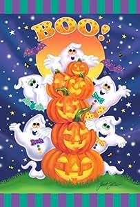 托兰 家居园艺装饰 31.75 x 45.72 cm 装饰彩色万圣节杰克-O 灯南瓜 Boo Bat 花园旗帜