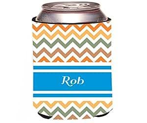 "Rikki Knight ""Rob Blue Chevron Name Design"" Beer Can/Soda Drinks Cooler Koozie"