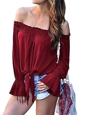 NVXIYYA 女式纯色露肩喇叭长袖衬衫领结结休闲上衣上衣 *红色 (US8-10) Medium