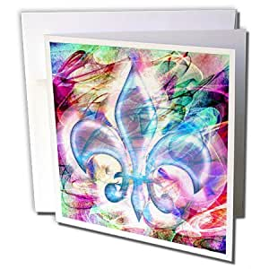 Dooni Designs 抽象和生存艺术 - 鸢尾抽象艺术 - 贺卡 Set of 6 Greeting Cards