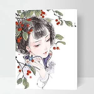 "MADE4U [Vitage Beauties 系列] [50.8cm] [厚 (1"")] [木框] 数字套件带刷和涂料 XL13 Girl G474"