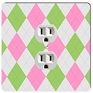 Rikki Knight Pink Green Argyle on Grey Single Outlet Plate