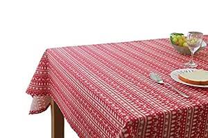prefe 100% 棉质圣诞 & 假期桌布红色和白色驼鹿,圣诞树,4英寸乘以177.8cm