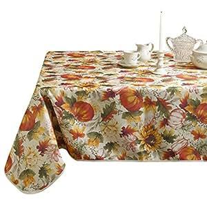 紫罗兰色亚麻欧式秋季丰收、南瓜和 AUTUMN LEAVES 印花桌布