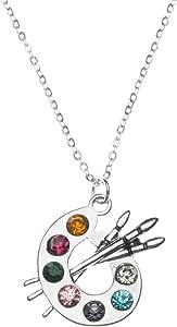 Sportybella 艺术家颜料调色板和刷子魅力吊坠项链,画家珠宝礼物送给女士、青少年和女孩