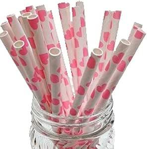 优质纸质吸管,适用于假日、周年纪念、生日、毕业典礼、婚礼、新娘和婴儿派对。 * 可生物降解复古和有趣的纸质吸管。 50 件装。 粉色心形 COMINHKPR95434