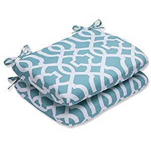 Pillow Perfect Outdoor New Geo Rounded Corners Seat Cushion, Aqua, Set of 2
