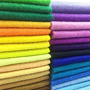 AiMay 50 片柔软毛毡布毡方巾,DIY 工艺,各种颜色 1.4 毫米厚 多种颜色 25cm x 25cm Felt-50S