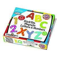 小号 WORLD TOYS ryan's ROOM 木制玩具–STICK 'em 磁铁字母和数字77件。 集