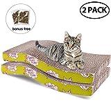 2 件装猫咪爬架纸板,猫薄荷,可回收瓦楞猫刮擦垫双面猫爬架靠垫躺椅沙发床替换品 S Shape Cat Scratch Pad