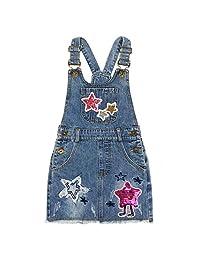 Peacolate 4-9T 小女孩背带连体服星星牛仔连衣裙