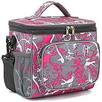 FlowFly 绝缘可重复使用午餐袋成*号午餐盒,男女通用,可调节肩带,前拉链口袋和两个大网眼侧口袋 多种颜色 FW-US-LB001-G01