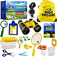 Kidz Xplore 户外探险套装 20 件套 - 自然探索套装儿童户外游戏迷你双筒望远镜儿童、指南针、口哨、放大镜、捕虫器、冒险、钓鱼、远足教育玩具
