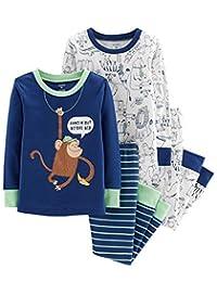 Carter's 男婴 4 件套睡衣睡衣睡衣睡衣睡衣舒适贴身棉猴子图案