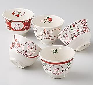 AILNET 厨房用品・餐具/餐具・玻璃・餐具/茶杯 红色 φ10×6.5cm 220ml 红绘花兔子 煎茶套装 5个套装