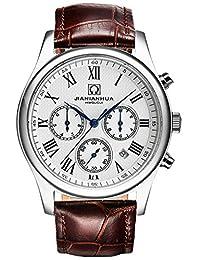 嘉年华手表 名匠商务系列防水男士全自动机械表 三眼六针多功能皮带男表 罗马白色腕表