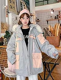 Goralon 冬季新款棉袄外套女加厚连帽大毛领工装棉服女学生韩版宽松bf棉衣