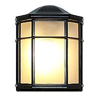 七源户外防水壁灯LED半边壁灯 阳台过道壁灯楼梯外墙壁灯露台壁灯(六角半边壁灯) (带9W LED玉米灯泡, 黑色)