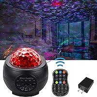 星云银河投影仪卧室星光MUACL儿童海洋波投影灯带遥控器和蓝牙音乐音箱LED星空灯适用于生日派对婚礼周年装饰