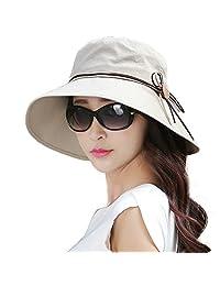 SIGGI 渔夫绳太阳夏日沙滩帽宽边女式可折叠 UPF 50+