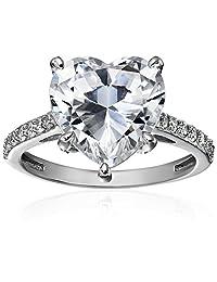 """镀白金标准纯银明星 """"Gaga"""" 戒指,镶嵌施华洛世奇氧化锆点缀  透明"""