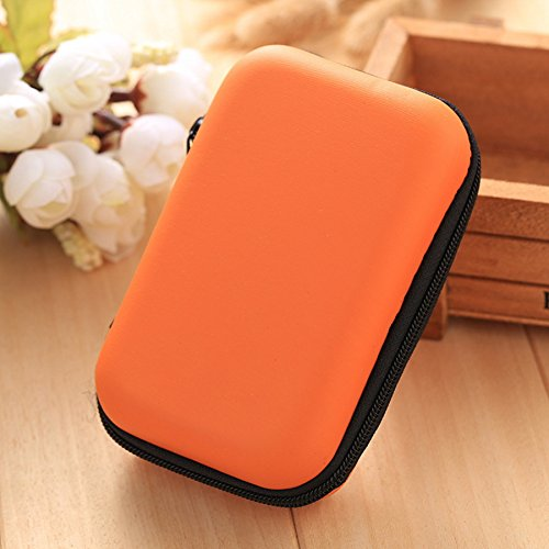 ヘッドフォンデータケーブル収納ボックスイヤホン収納ボックスデータ充電器ミニポータブル漫画かわいいヘッドセットデジタル収納ボックス仕上げパッケージ(オレンジ色の携帯電話回線収納袋2)