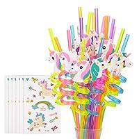 可重复使用的独角兽饮用塑料吸管 + 少女临时纹身 - 独角兽生日派对用品 - 彩虹独角兽派对礼品装饰 - 26 件套带清洁刷