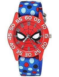 """Marvel 男童""""蜘蛛侠""""石英塑料尼龙休闲手表,颜色:蓝色(型号:WMA000185)"""