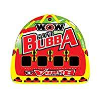 WoW World of Watersports, 17-1070 Giant Bubba Hi Vis 1 to 4 Person Towable Deck Seat, Front and Back Tow Points