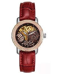 RUNOSD 斯诺威登 瑞士品牌 全自动机械表手表 镶嵌71颗施华洛水钻镂空时尚女士腕表 50米深度防水潮流夜光皮带女表 8136L玫瑰金黑面