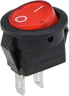 uxcell 迷你船 摇杆开关 红色 拨动开关 适用于船 汽车 船舶 2针 开/关 AC 250V/3A
