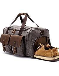 WEEKENDER 行李袋皮革夜包包帆布旅行袋带鞋格旅行包手提行李