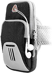 Tsuinz 臂包,跑步臂带适用于户外锻炼臂带,带耳机插孔和反光带,适用于 iPhone 11 Pro XS MAX XR XS X 8 Plus,Galaxy S10+ S10 S10e S9+ 黑色 -2