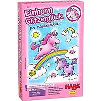 HABA 300123 Einhorn Glitzerglück 幸福的独角兽 云中宝藏 神奇骰子游戏 带有60个闪闪发光的水晶 适用于2-4位3岁以上的玩家 适合喜爱独角兽小朋友的生日礼物